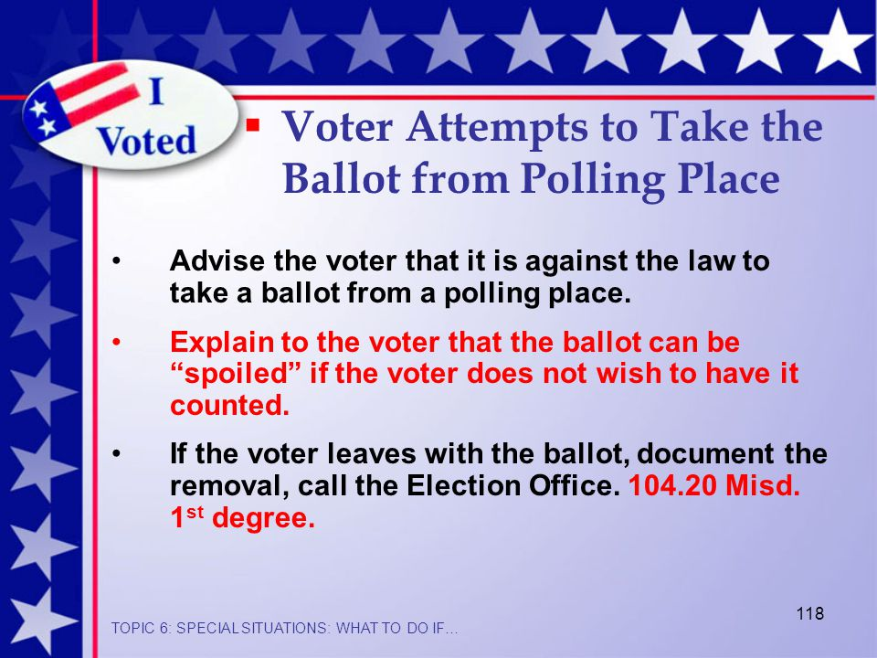 118 Advise the voter that it is against the law to take a ballot from a polling place.
