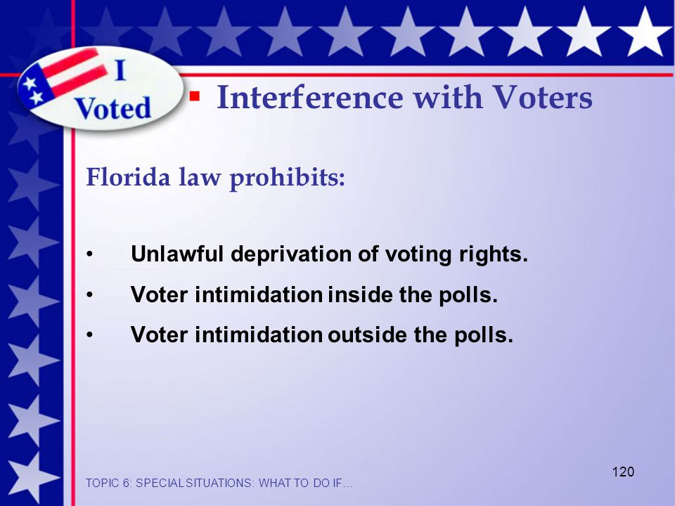 120 Unlawful deprivation of voting rights. Voter intimidation inside the polls.