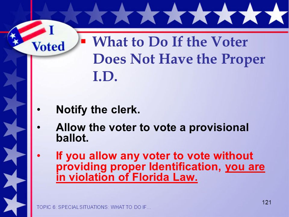 121 Notify the clerk.Allow the voter to vote a provisional ballot.
