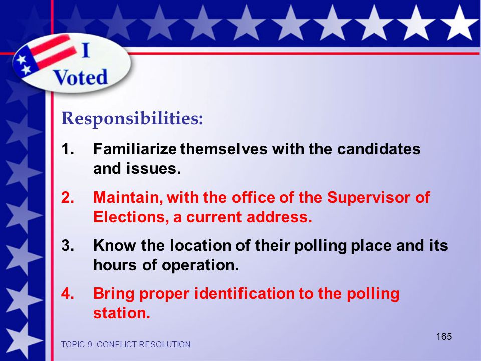 165 Responsibilities: 1.Familiarize themselves with the candidates and issues.