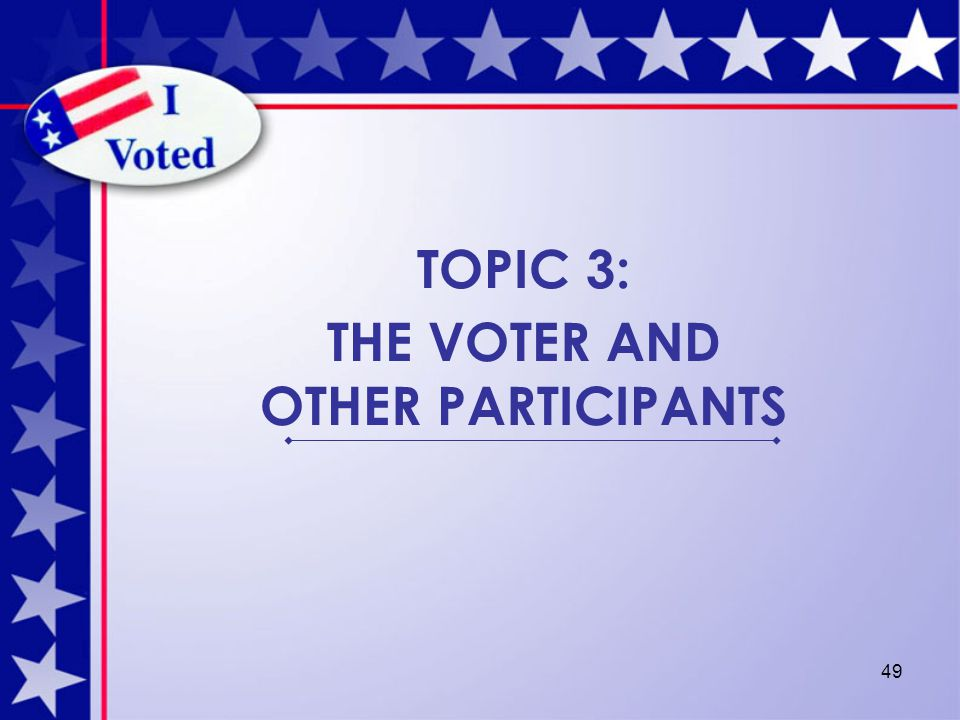 49 TOPIC 3: THE VOTER AND OTHER PARTICIPANTS