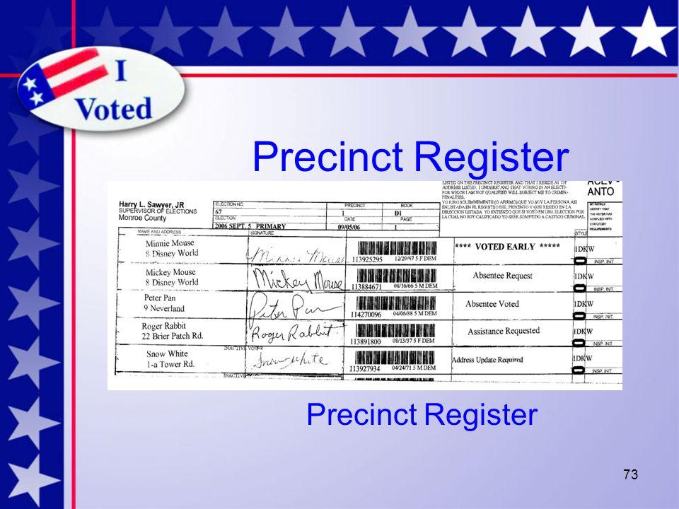 73 Precinct Register