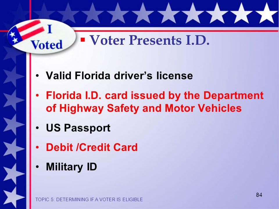 84 Valid Florida driver's license Florida I.D.