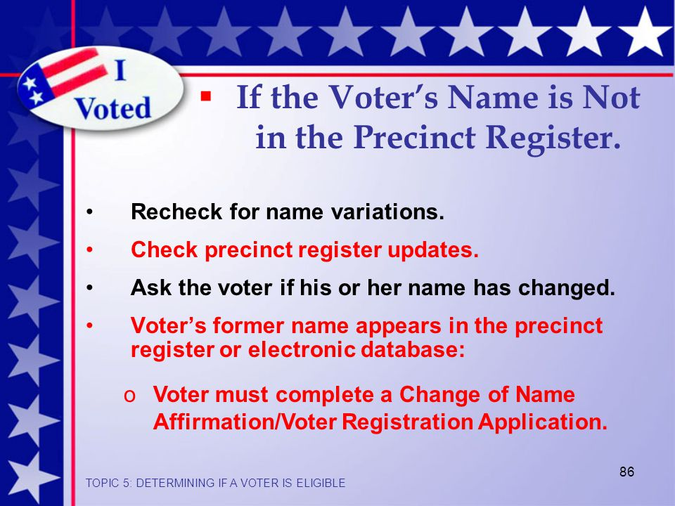 86  If the Voter's Name is Not in the Precinct Register.