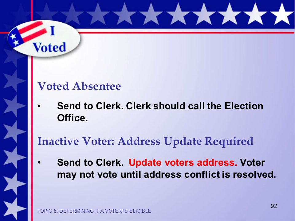 92 Send to Clerk.Update voters address. Voter may not vote until address conflict is resolved.