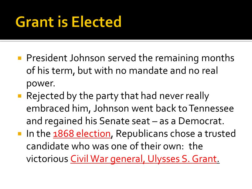  President Johnson served the remaining months of his term, but with no mandate and no real power.