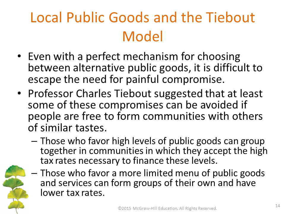 Local Public Goods and the Tiebout Model Even with a perfect mechanism for choosing between alternative public goods, it is difficult to escape the need for painful compromise.
