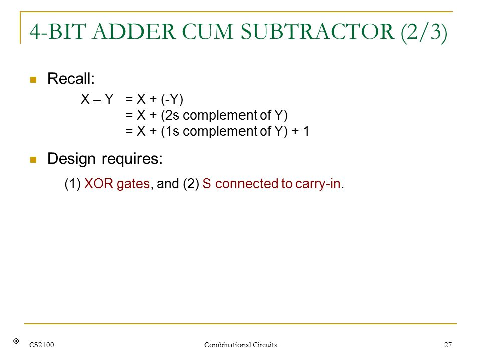 CS2100 Combinational Circuits 27 4-BIT ADDER CUM SUBTRACTOR (2/3) Recall: X – Y = X + (-Y) = X + (2s complement of Y) = X + (1s complement of Y) + 1 Design requires: (1) XOR gates, and (2) S connected to carry-in.