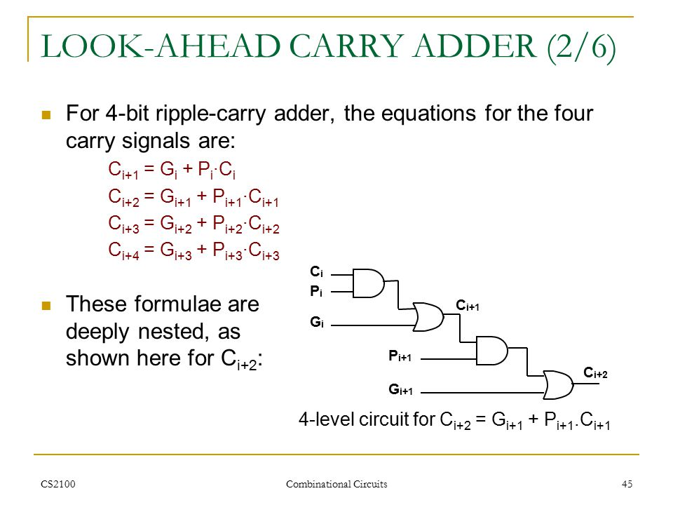 CS2100 Combinational Circuits 45 LOOK-AHEAD CARRY ADDER (2/6) For 4-bit ripple-carry adder, the equations for the four carry signals are: C i+1 = G i + P i ∙C i C i+2 = G i+1 + P i+1 ∙C i+1 C i+3 = G i+2 + P i+2 ∙C i+2 C i+4 = G i+3 + P i+3 ∙C i+3 These formulae are deeply nested, as shown here for C i+2 : CiPiCiPi C i+1 GiGi P i+1 G i+1 C i+2 4-level circuit for C i+2 = G i+1 + P i+1.C i+1