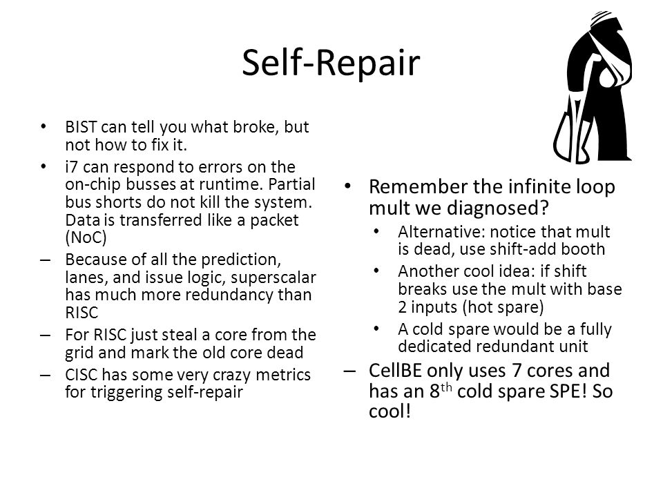 Self-Repair BIST can tell you what broke, but not how to fix it.