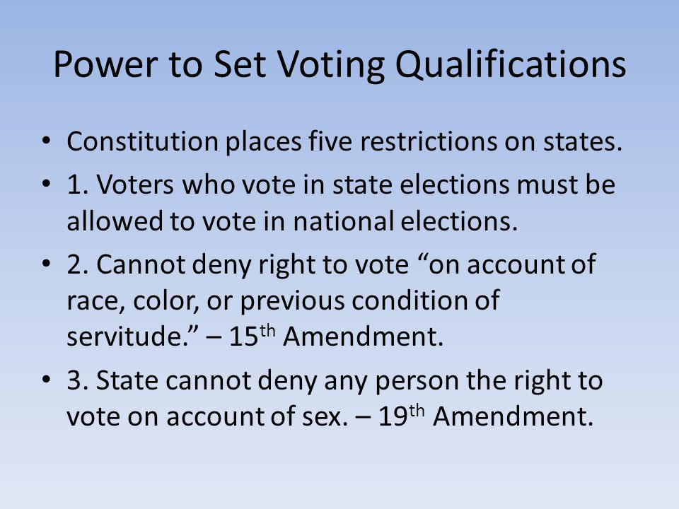 Power to Set Voting Qualifications Constitution places five restrictions on states.