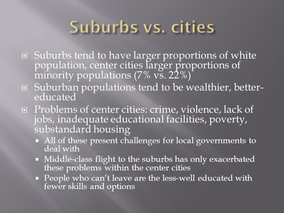  Suburbs tend to have larger proportions of white population, center cities larger proportions of minority populations (7% vs.