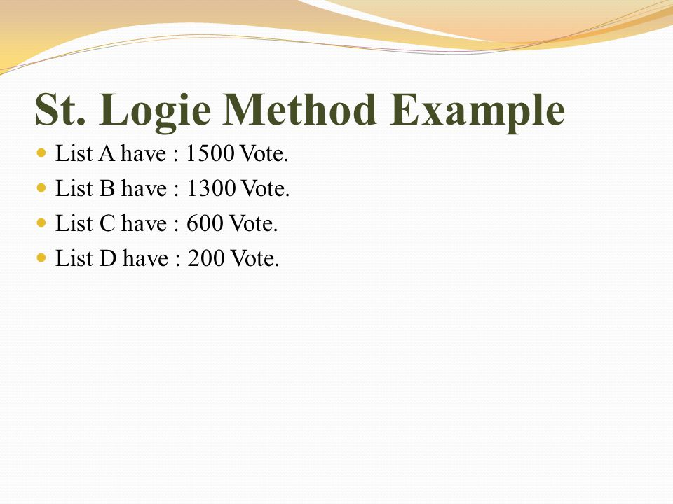 St. Logie Method Example List A have : 1500 Vote.