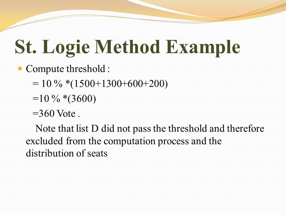 St. Logie Method Example Compute threshold : = 10 % *(1500+1300+600+200) =10 % *(3600) =360 Vote.