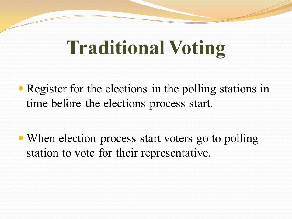 Traditional Voting Every elector come with election card, which has information prove that this person has right to vote when verify the information with information in election roll placed at polling station.