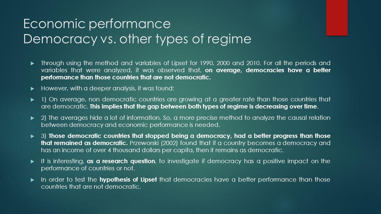 Economic performance Democracy vs.