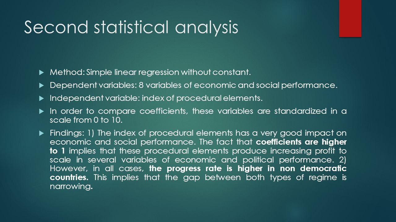 Second statistical analysis  Method: Simple linear regression without constant.