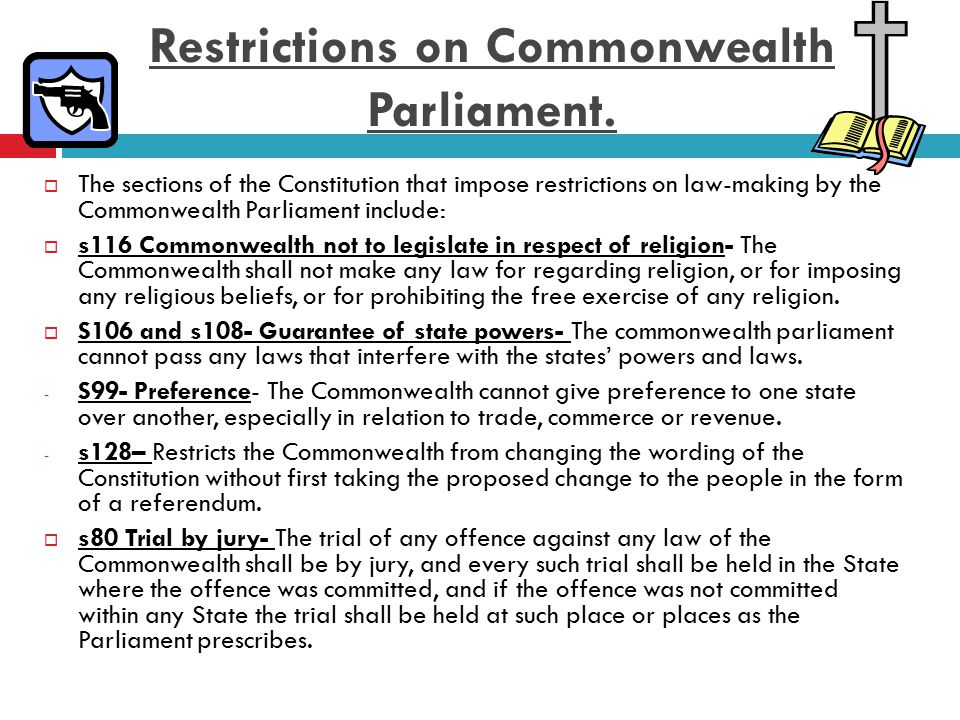 Question Time 1 Complete the following chart Law making powers ExplanationExample Exclusive Powers Concurrent Powers Residual Powers 2 Explain the significance of section 109 of the Commonwealth Constitution.