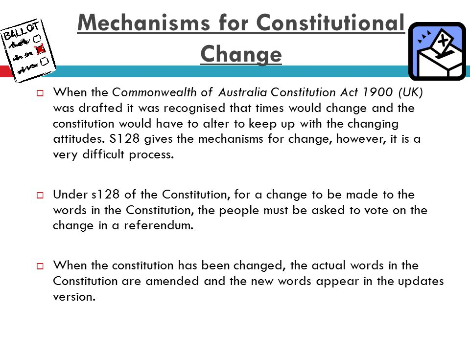 How does the Referendum change the Constitution.