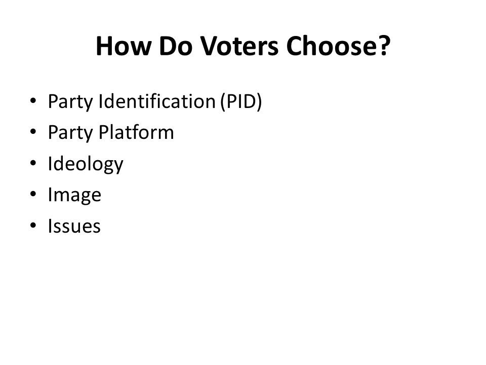 How Do Voters Choose? Party Identification (PID) Party Platform Ideology Image Issues