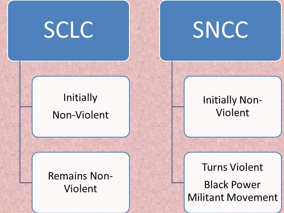 SCLC Initially Non-Violent Remains Non- Violent SNCC Initially Non- Violent Turns Violent Black Power Militant Movement