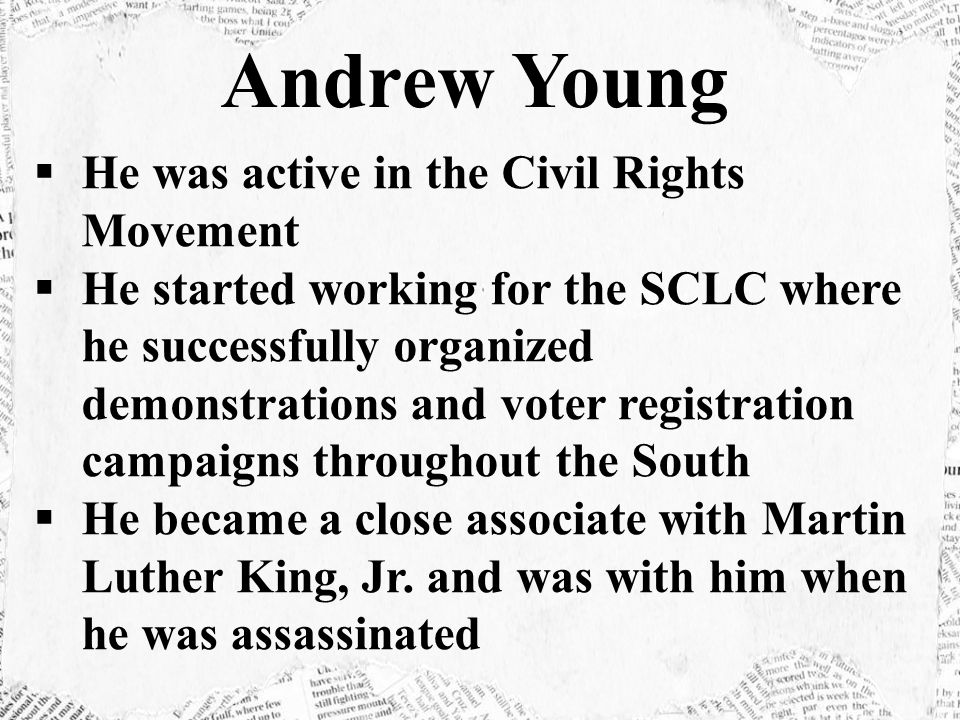  He was active in the Civil Rights Movement  He started working for the SCLC where he successfully organized demonstrations and voter registration campaigns throughout the South  He became a close associate with Martin Luther King, Jr.