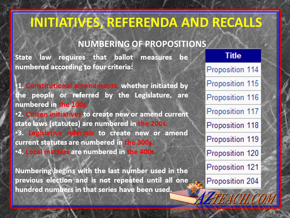 NUMBERING OF PROPOSITIONS INITIATIVES, REFERENDA AND RECALLS State law requires that ballot measures be numbered according to four criteria: 1. Consti