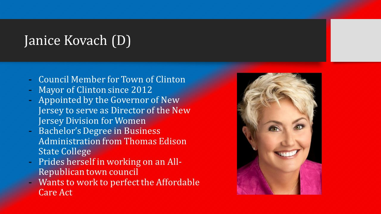 Janice Kovach (D) - Council Member for Town of Clinton - Mayor of Clinton since 2012 - Appointed by the Governor of New Jersey to serve as Director of the New Jersey Division for Women - Bachelor's Degree in Business Administration from Thomas Edison State College - Prides herself in working on an All- Republican town council - Wants to work to perfect the Affordable Care Act