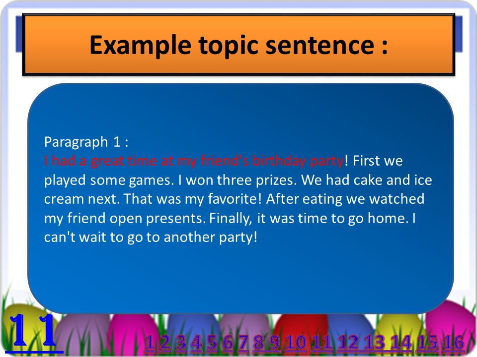 Example topic of a paragraph :