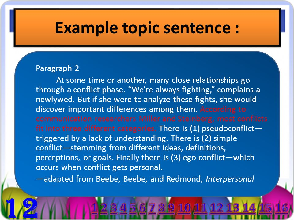 Example topic sentence : Paragraph 1 : I had a great time at my friend's birthday party! First we played some games. I won three prizes. We had cake a
