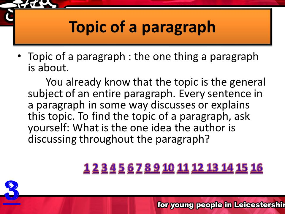 A paragraph is a group of related sentences that develop a main thought, or idea, about a single topic. The structure of a paragraph is not complex. T