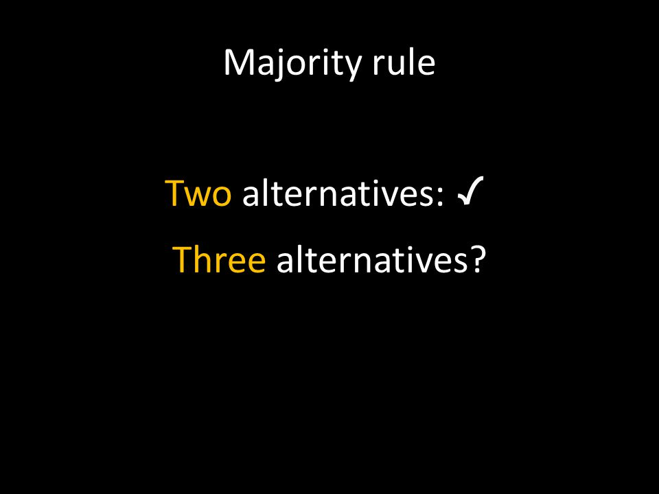 Majority rule Two alternatives: Three alternatives?