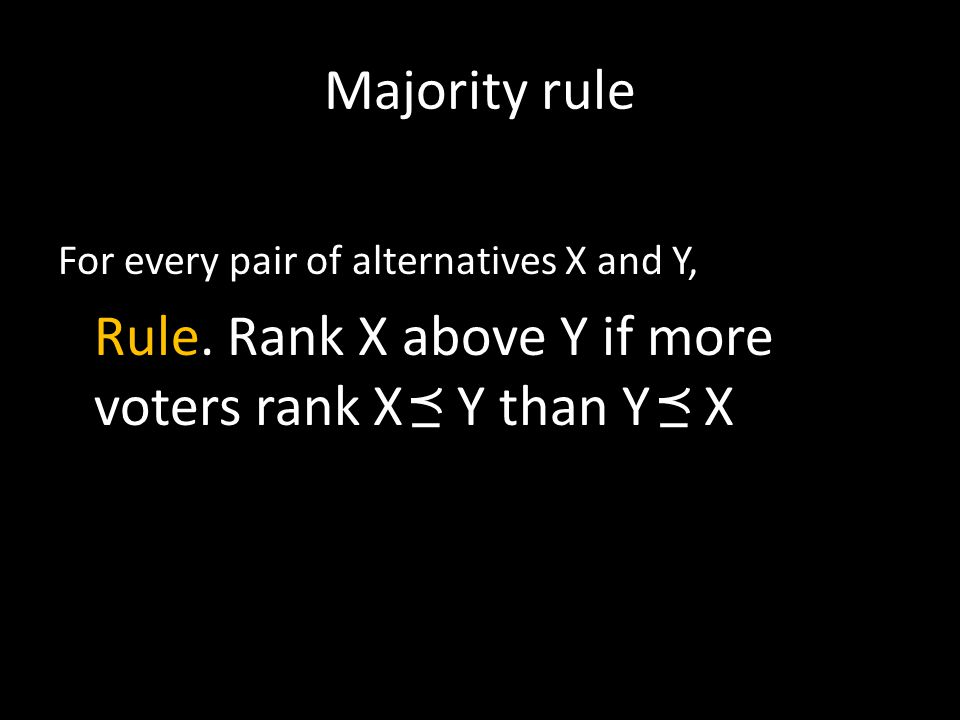 Majority rule For every pair of alternatives X and Y, Rule. Rank X above Y if more voters rank X Y than Y X