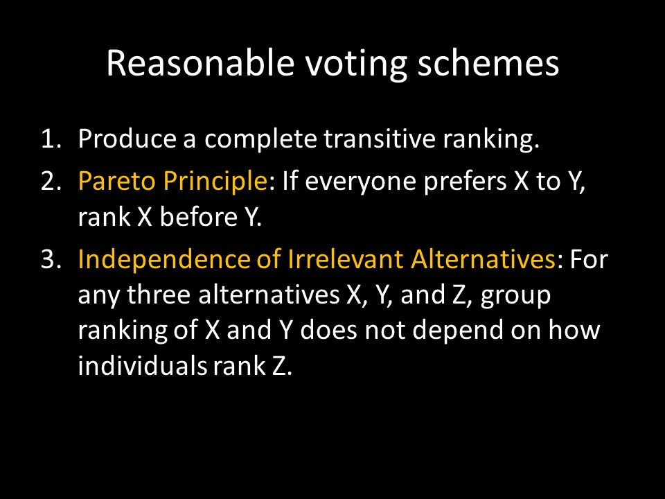 Reasonable voting schemes 1.Produce a complete transitive ranking.