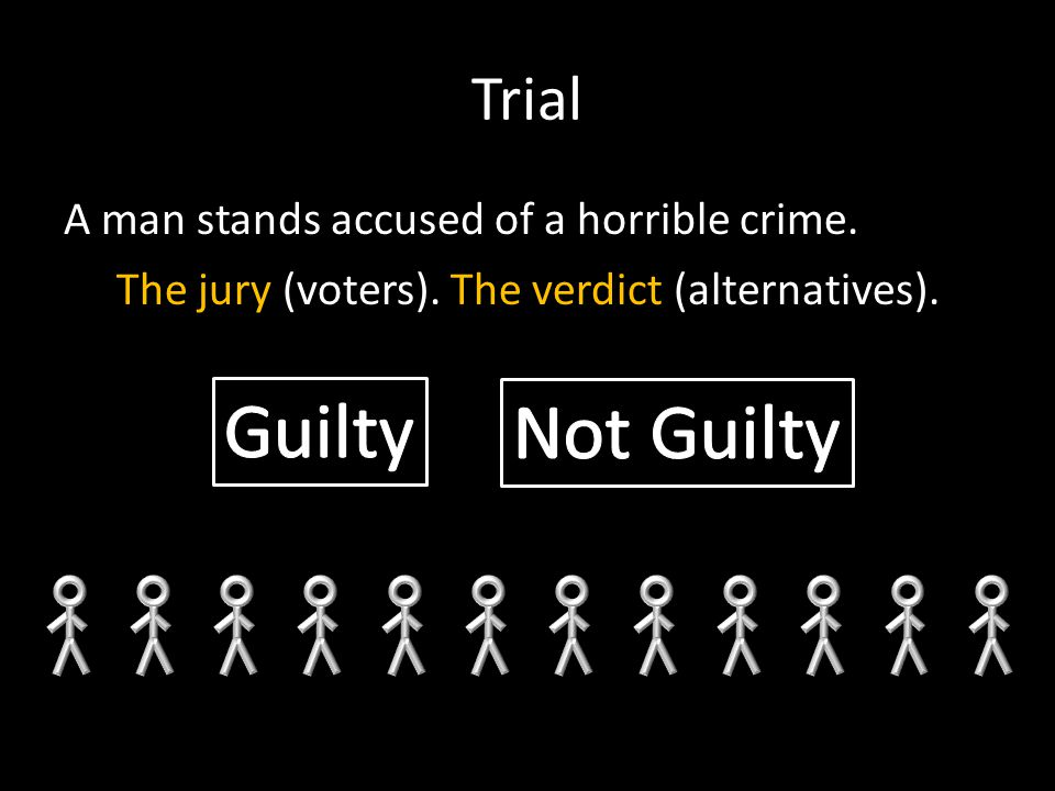 Trial A man stands accused of a horrible crime. The jury (voters).The verdict (alternatives).