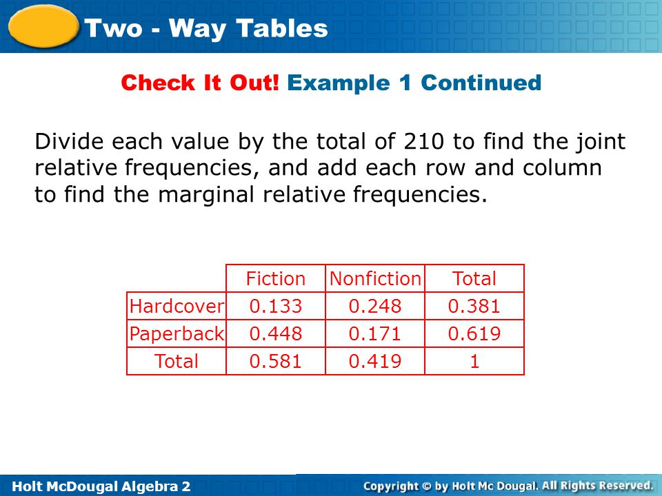 Holt McDougal Algebra 2 Two - Way Tables Check It Out! Example 1 Continued Divide each value by the total of 210 to find the joint relative frequencie