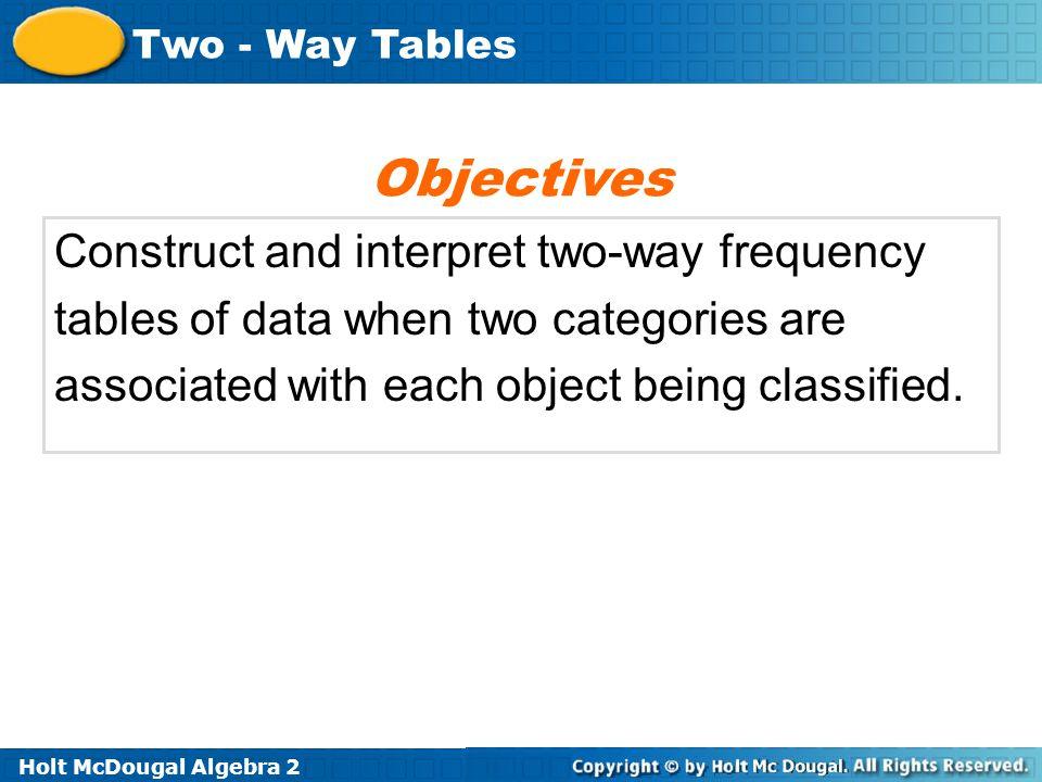 Holt McDougal Algebra 2 Two - Way Tables B.