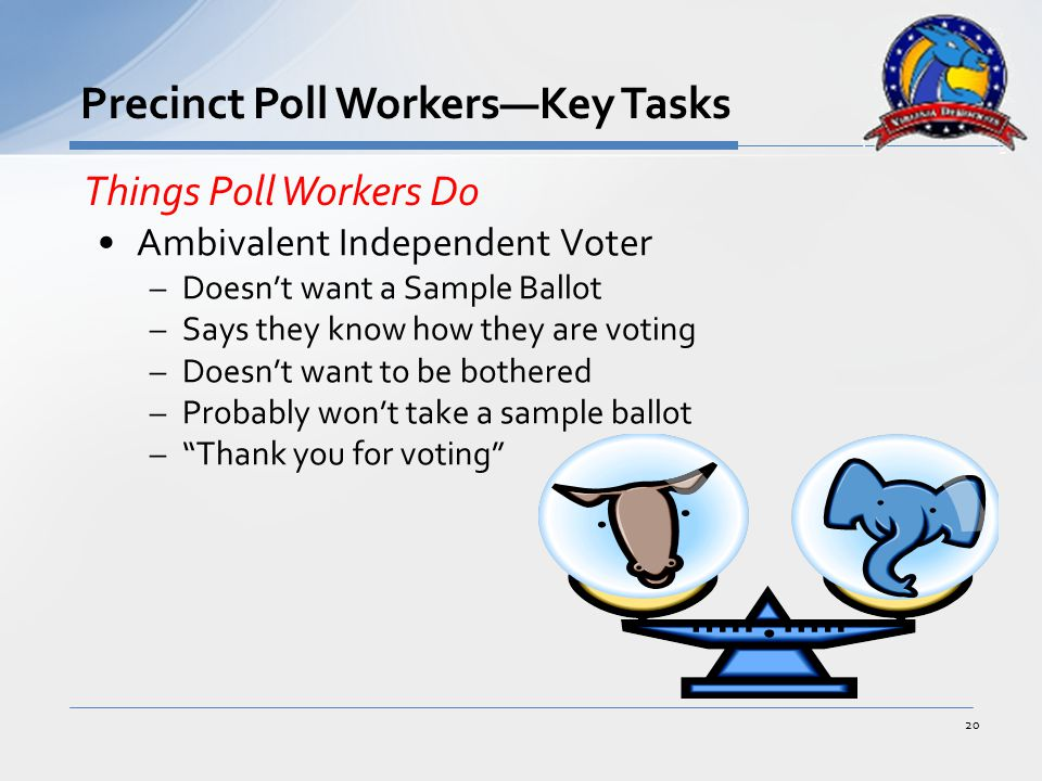 Ambivalent Independent Voter –Doesn't want a Sample Ballot –Says they know how they are voting –Doesn't want to be bothered –Probably won't take a sample ballot – Thank you for voting 20 Precinct Poll Workers—Key Tasks Things Poll Workers Do