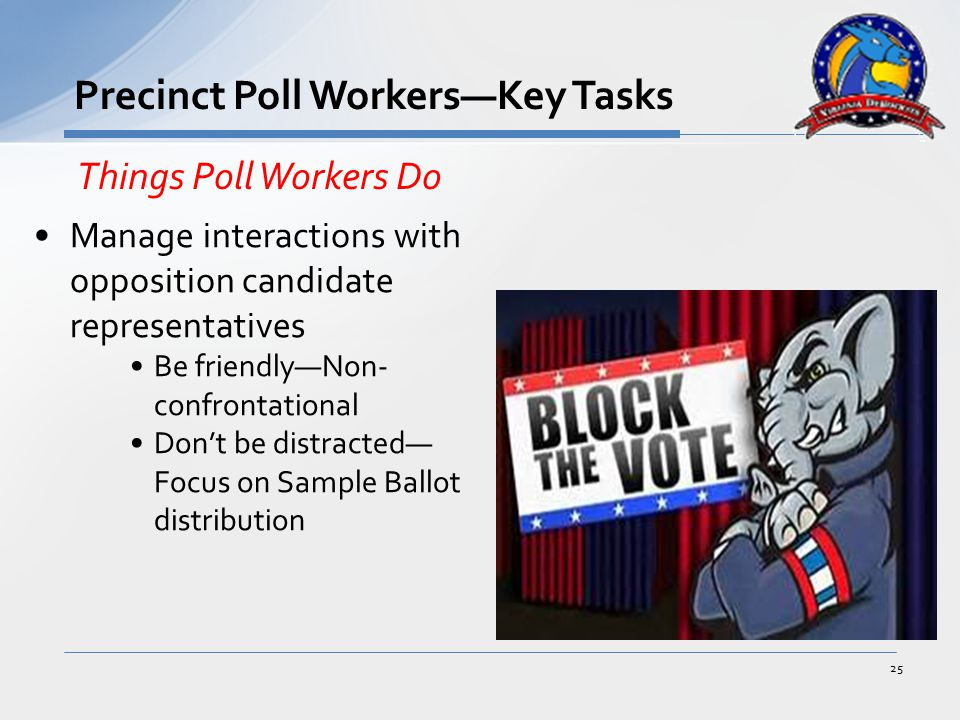 Manage interactions with opposition candidate representatives Be friendly—Non- confrontational Don't be distracted— Focus on Sample Ballot distribution 25 Precinct Poll Workers—Key Tasks Things Poll Workers Do