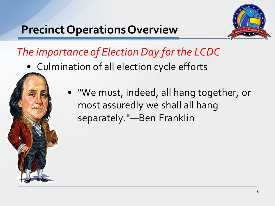 Poll workers are the LCDC's On-site Liaison with Election Officials –Precinct Chief –Relay vote count info to the LCDC –Signed Authorization to enter inside the polling place 16 Precinct Poll Workers—Key Tasks Things Poll Workers Do