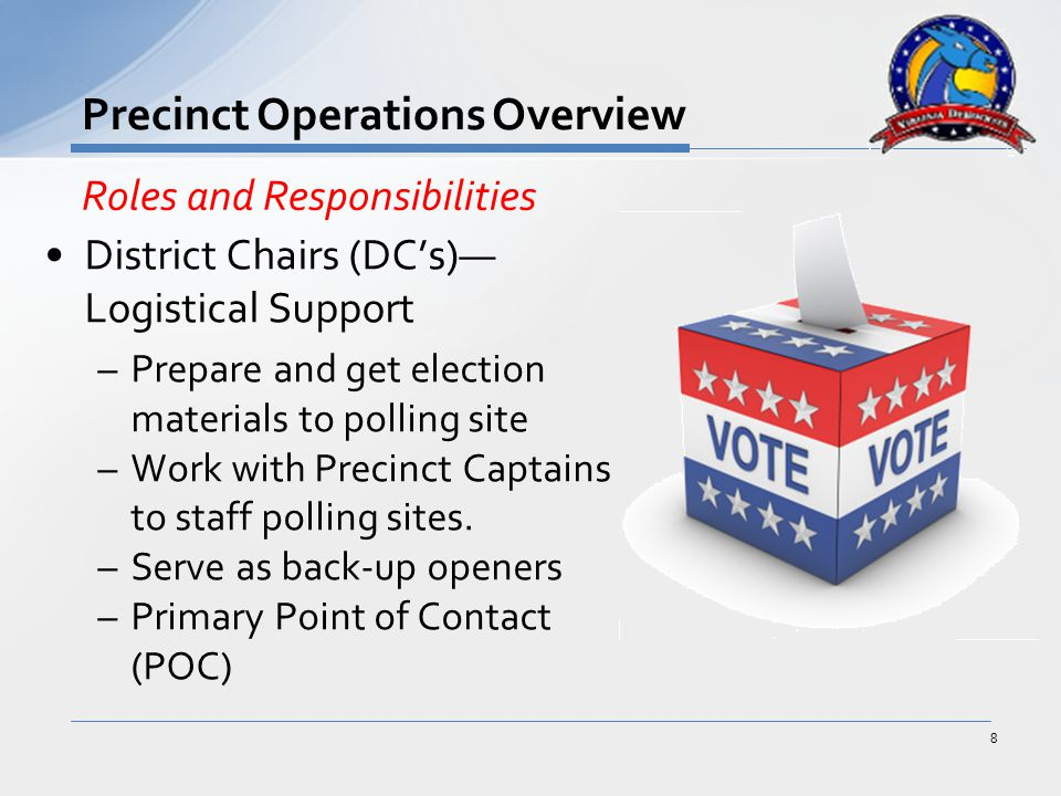 District Chairs (DC's)— Logistical Support –Prepare and get election materials to polling site –Work with Precinct Captains to staff polling sites.