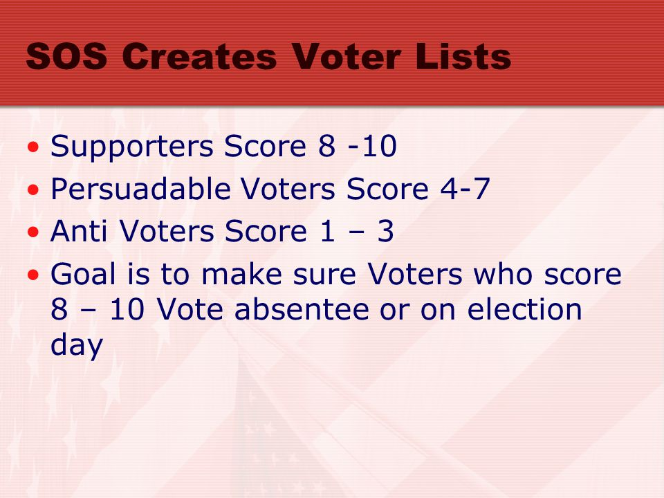 SOS Creates Voter Lists Supporters Score 8 -10 Persuadable Voters Score 4-7 Anti Voters Score 1 – 3 Goal is to make sure Voters who score 8 – 10 Vote absentee or on election day