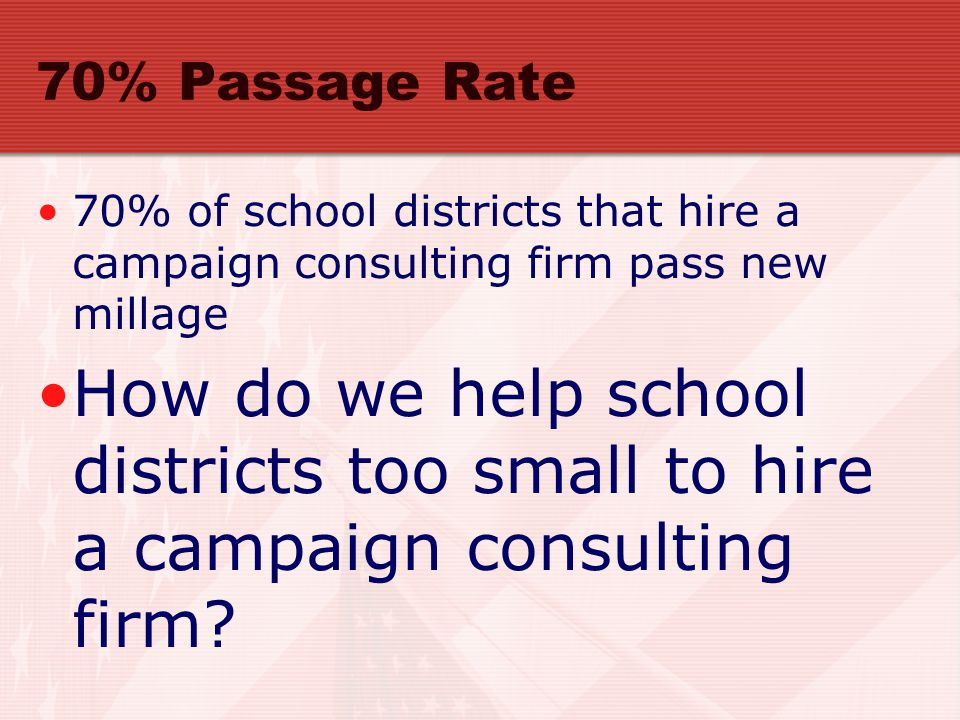 70% Passage Rate 70% of school districts that hire a campaign consulting firm pass new millage How do we help school districts too small to hire a campaign consulting firm