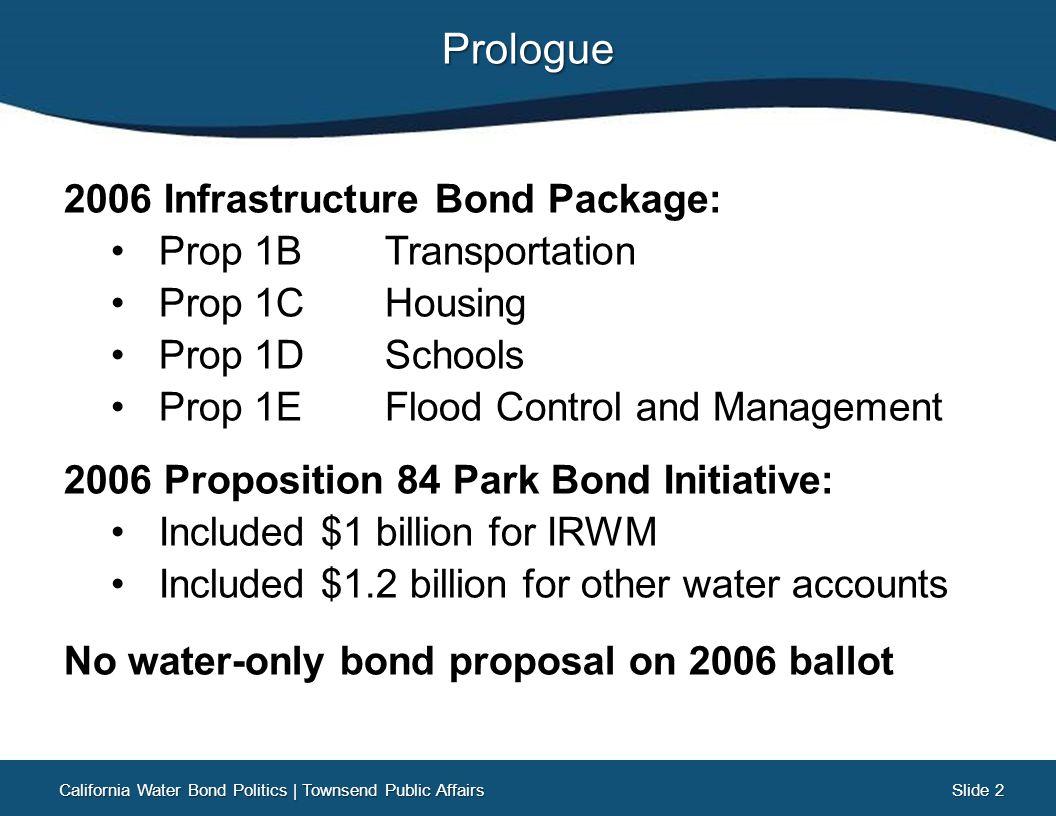 Slide 13 Slide 13 Legislative Water Bond Efforts What wasn't agreed upon… Funding amounts for: California Water Bond Politics   Townsend Public Affairs Delta Mitigation Surface Storage Overall Bond Amount