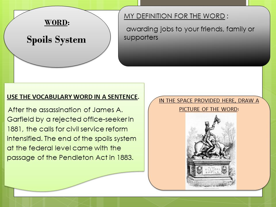 WORD: Spoils System WORD: Spoils System MY DEFINITION FOR THE WORD : awarding jobs to your friends, family or supporters USE THE VOCABULARY WORD IN A