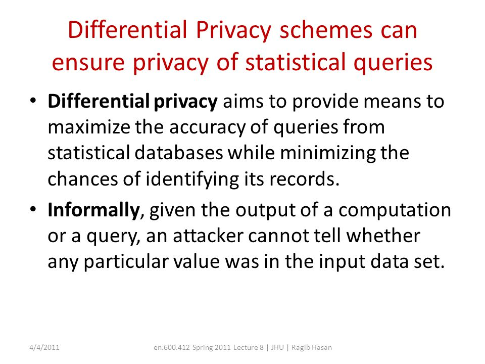 Securing MapReduce for Privacy and Confidentiality Paper: – Roy et al., Airavat: Security and Privacy for MapReduce – Goal: Secure MapReduce to provide confidentiality and privacy assurances for sensitive data 4/4/2011en.600.412 Spring 2011 Lecture 8 | JHU | Ragib Hasan