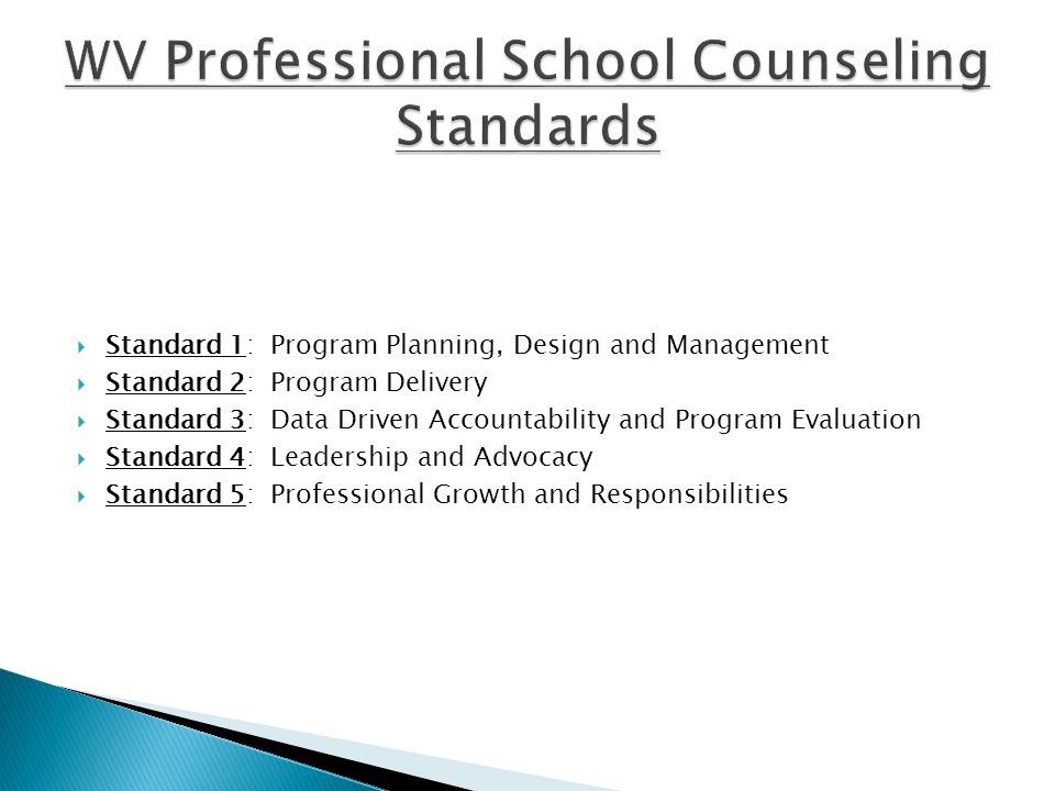  Standard 1: Program Planning, Design and Management  Standard 2: Program Delivery  Standard 3: Data Driven Accountability and Program Evaluation  Standard 4: Leadership and Advocacy  Standard 5: Professional Growth and Responsibilities