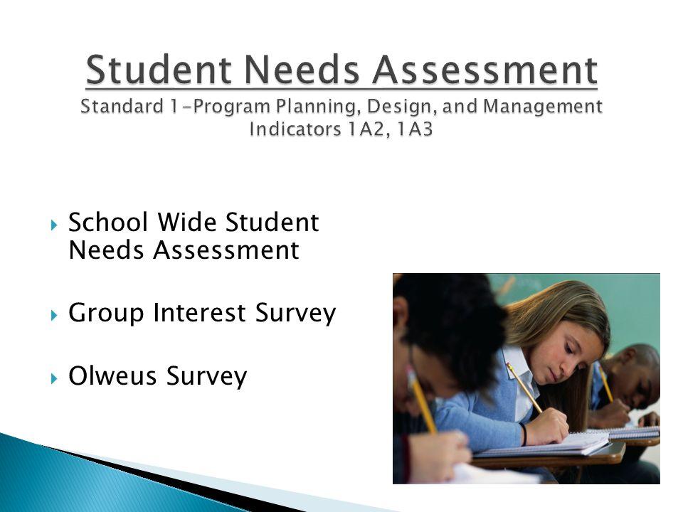  School Wide Student Needs Assessment  Group Interest Survey  Olweus Survey