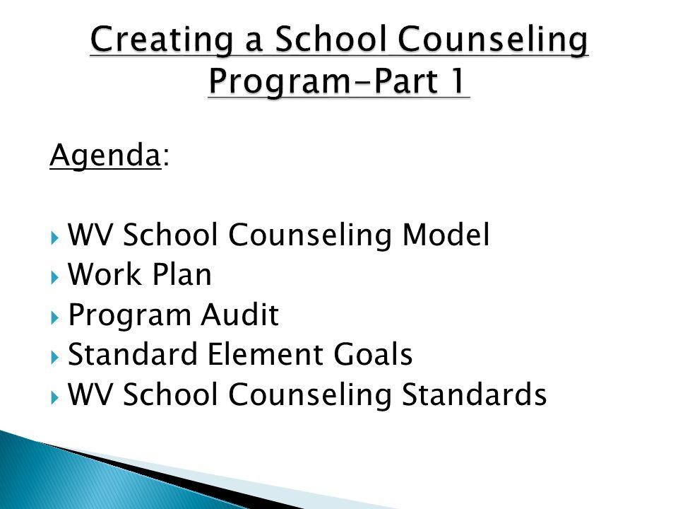 Agenda:  WV School Counseling Model  Work Plan  Program Audit  Standard Element Goals  WV School Counseling Standards