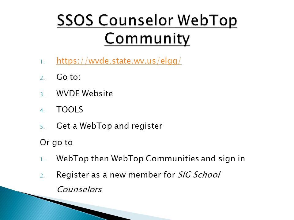 1. https://wvde.state.wv.us/elgg/ https://wvde.state.wv.us/elgg/ 2. Go to: 3. WVDE Website 4. TOOLS 5. Get a WebTop and register Or go to 1. WebTop th